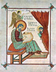 The Evangelist Matthew, Lindisfarne Gospels, Hiberno-Saxon, 710-725 CE.
