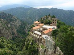 Exterior, Saint-Martin-du-Canigou, French Pyrenees, Romanesque, 1001-1026.