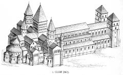 Reconstruction Drawing of the Third Abbey Church at Cluny, Looking East, Romanesque, 1088-1130.