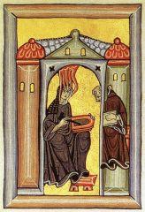 Hildegard and Volmar, from Liber Scivias of Hildegard of Bingen, Romanesque, 1150-1175.
