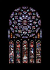 Rose Window and Lancets, Chartres Cathedral, High Gothic, 1230-1235.
