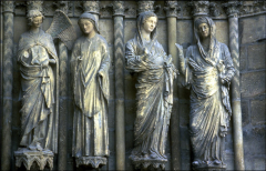 Annunciation and Visitation, Jambs, West Portal, Reims Cathedral, High Gothic, 1230-1250.