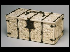 Small Ivory Chest with Scenes of Courtly Romances, Late Gothic, 1330-1350.