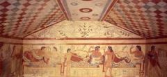 #32   Tomb of Triclinium   Tarquinia, Italy   Etruscan   480 - 470 B.C.E.   _____________________   Content: This is a subterraneal, multi-chambered family tomb cut of a dark limestone called tufa. Inside the tombs there are painting...