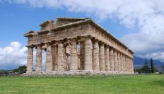 Temple of Hera II at Paestum   Classical Greek   460 B.C.E.   _____________________   Content: This is a marble temple of Hera, the second of its kind.   ____________________   Style: This is a Doric style temple. It is raised on ste...