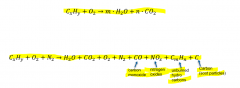 - reaction of a chemical substance with oxagen, releasing heat - requires high temp. levels ideal combustion converts hydro-carbons to water and CO2