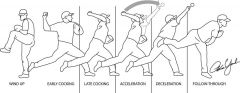 Which of the following is true of the scapula during an overhead throwing motion? 1-It maximally retracts on ball release; 2-It protracts during late cocking to prevent imping on the RC; 3-It must rotate in the cocking & accel phases to prevent im...