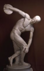 Diskobolos (Discus Thrower)   Myron, Athens, Greece   Classical Greek   450 B.C.E.   _____________________   Content: This is the sculpted representation of a Greek discus athlete, carved in marble.   ___________________   Style: T...