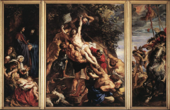 large altarpoece to excite people. left side is christ fam and supporters, righter people tormenting christ. bodies big like michaleangeo, spotlight effect like caravaggio, painted in moment like baroque era