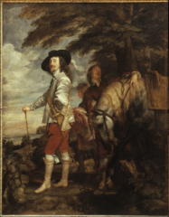 charles knew van would flatter him in a portrait. surprised look made to look informal. play of scale making charles bigger than everything in portrait. horse is bowing to him..shwoing charles controlled everything.