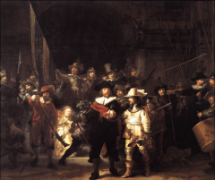 militia, informal as they are going out for a parade, ceremonial act, painting looks dark but is taken at daylight. varnish used to protect the paint darkens over age. members paid different amounts for the art, people who paid less is hardly see...