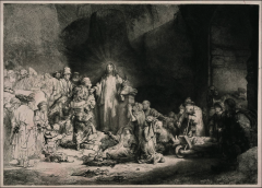 print of christ preaching to sick. name is cuz picture sold for a hundred guilder. print are made from white paper and black ink.